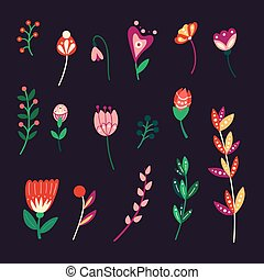 leaves., pasen, vakantie, vector, illustratie, ontwerp, elements., bloemen, schattig, achtergrond, kinderachtig