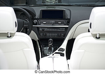 leder, auto, witte , dashboard, zetels