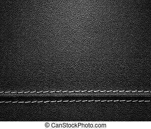leder, black , steek, textuur