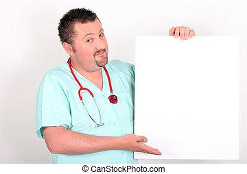 leeg teken, op, vasthouden, arts