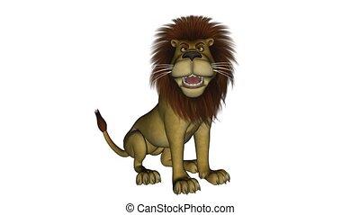 leeuw, zittende , spotprent, roaring.
