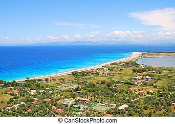 lefkada, eiland, lang, griekenland, strand, zanderig