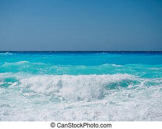 lefkada, griekenland, rotsen, water., wild, strand, eiland