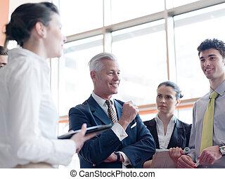 leider, zakelijk, brainstorming, presentatie, vervaardiging