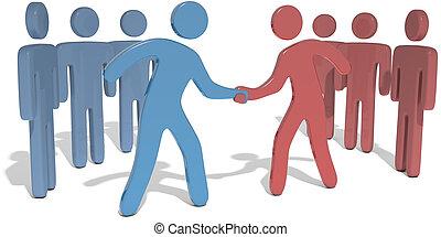 leiders, mensen, bereiken, overeenkomst, team