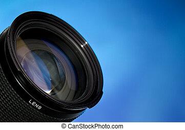 lens, blauwe , fotografie, op