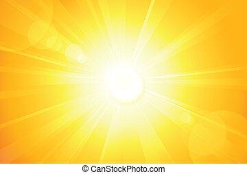 lens, zon, helder, vector, vuurpijl