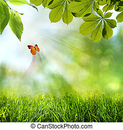 lente, abstract, achtergronden, zomer