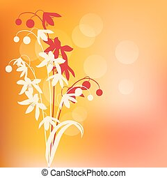 lente, abstract, warme, achtergrond, bloemen, omtrek