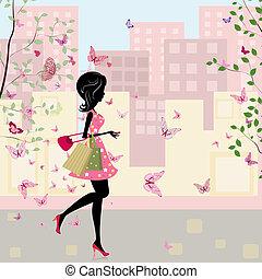 lente, meisje, shoppen