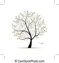 lente, ontwerp, boompje, groene, jouw