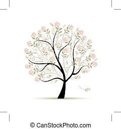 lente, ontwerp, boompje, jouw, rozen