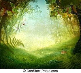 lente, ontwerp, -, bos, weide