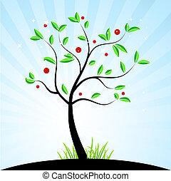 lente, ontwerp, jouw, boompje
