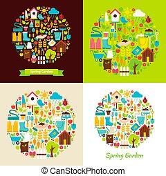 lente, plat, voorwerpen, tuin, concepten