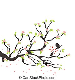lente, pruim boom, vogels, hartelijk