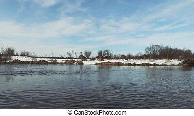 lente, rivier, seizoen