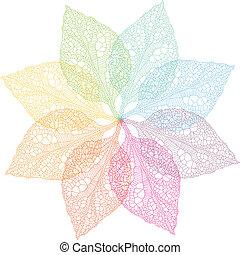 lente, vector, kleurrijke, bladeren