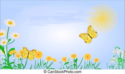 lente, vlinder, weide, gele