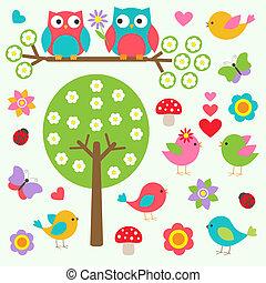 lente, vogels, bos, uilen
