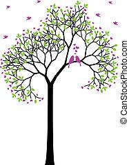 lente, vogels, vector, liefde, boompje