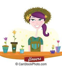lente, vrouw, bloemen, tuin