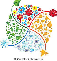 lente, winter., herfst, seasons., zomer, vier