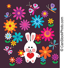 lentebloemen, paashaas, kleurrijke