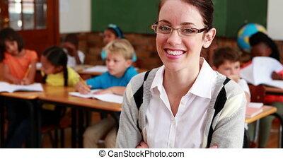 leraar, het glimlachen, fototoestel, mooi