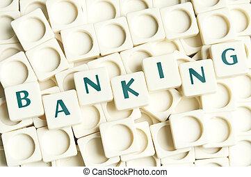 leter, bankwezen, gemaakt, woord, stukken
