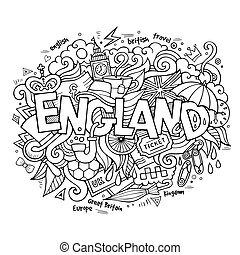 lettering, communie, engeland, hand, achtergrond, doodles