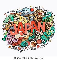 lettering, communie, hand, achtergrond, doodles, japan