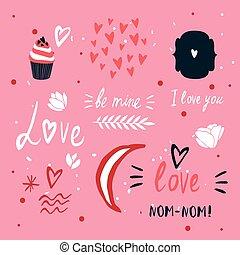lettering, communie, schattig, valentines, verzameling, st, ontwerp, dag