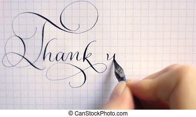 lettering, kalligrafie, danken, ouderwetse , pen, frase, u, lettertype