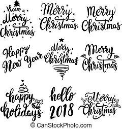 lettering, set, card., poster, vrijstaand, illustratie, groet, achtergrond., emblems, vector, ontwerp, jaar, 2018., nieuw, witte kerst, communie