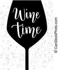 lettering, vector, wijntje, tijd