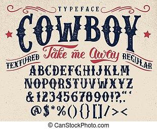 lettertype, textured, cowboy, retro, met de handen vervaardigd