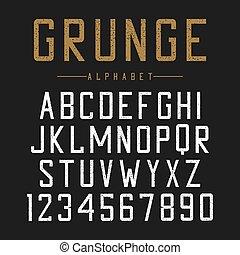 lettertype, typografie, ouderwetse , barsten, alfabet, typeface., grunge, scratches., textured, design.
