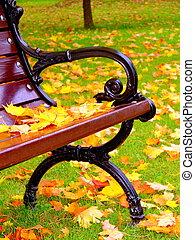 leugen, bladeren, park, gele, bankje, herfst