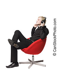 leunstoel, het zitten, luistert, muziek, man