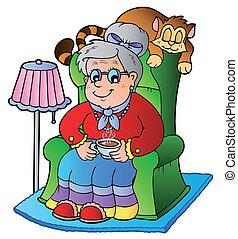 leunstoel, oma, spotprent, zittende