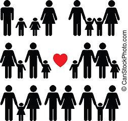 leven, black , set, pictogram, gezin