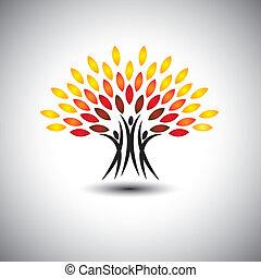 leven, concept, vrolijke , blij, eco, mensen, -, bomen, vector.