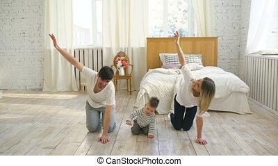 leven, gezin, gymnastisch, gezonde , -, slaapkamer, oefeningen, thuis, opleiding