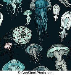 leven, jellyfish., organismen, model, seamless, oceaan
