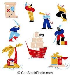 leven, set, samenhangend, voorwerpen, piraten, kostuums