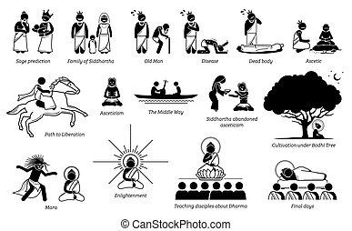leven, verhaal, stok, boeddha, figuur, gautama, icons.