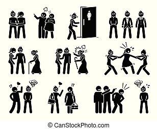leven, vrouw, struggle., moeilijkheid, sociaal, lesbische