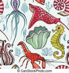 levend, organismen, model, seamless, hand, getrokken, deepwater
