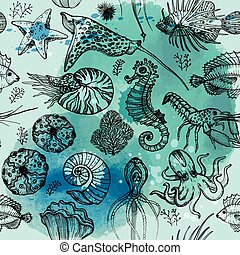 levend, organismen, model, seamless, watercolor, deepwater